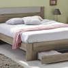 lit bois naturel avec rangement