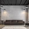 Salon loft industriel avec mur en briques peint en blanc